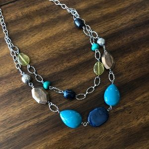 Layered Turquoise Beaded Long Necklace